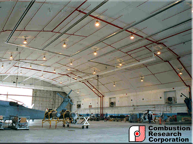 Military Aircraft Hanger with Reflect-O-Ray 6.0 Radaint Infrared Heaters