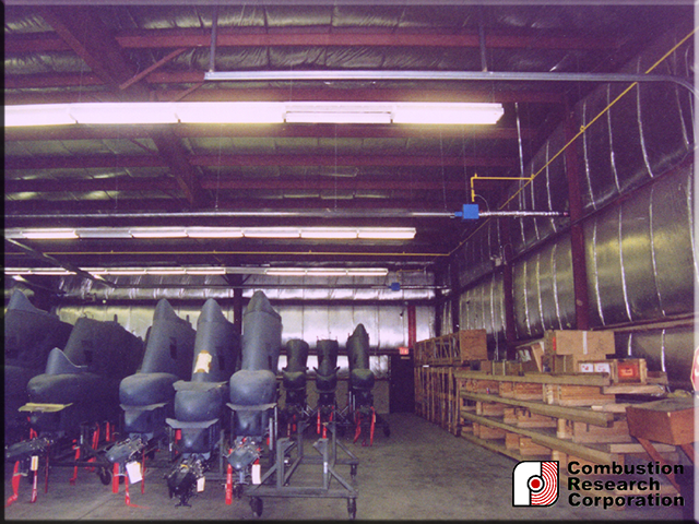 Military Storage warehouse with Reflect-O-Ray 3.5 Radiant Infrared Heaters
