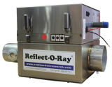 Reflect-O-Ray 3.5 EDS - Gas Fired Radiant Heater - Stainless Steel - 45 view - Reflect-O-Ray Label Inlet forward