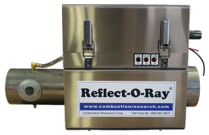 Reflect-O-Ray 3.5 EDS - Gas Fired Radiant Heater - Stainless Steel - side view - Reflect-O-Ray Label