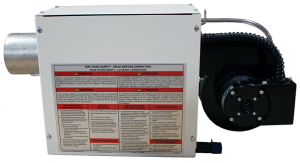 Serengeti-IR Residential Garage- Gas Fired Radiant Heater - Powder Coated –side view – warning label