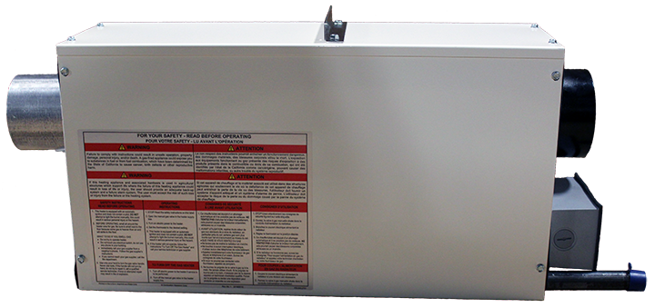 Omega II Gas Fired Radiant Heater - side Warning view