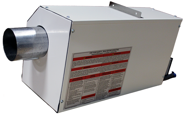 Omega II Gas Fired Radiant Heater - side view 45 warnings view combustion forward