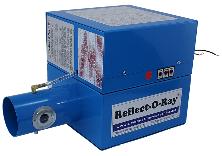 Reflect-O-Ray 3.5 EDS - Gas Fired Radiant Heater - Powder Coated - 45 view - Reflect-O-Ray Label burner forward