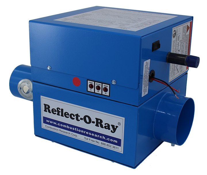 Reflect-O-Ray 3.5 EDS - Gas Fired Radiant Heater - Powder Coated - 45 view - Reflect-O-Ray Label Inlet forward