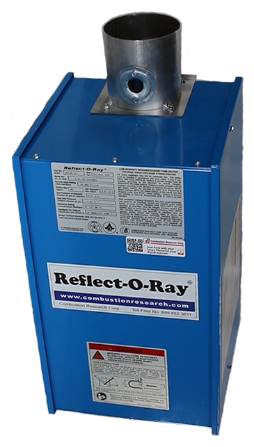Reflect-O-Ray 4.0 EDS - Gas Fired Radiant Heater - Powder Coated - top view – hanging bracket - combustion tube up