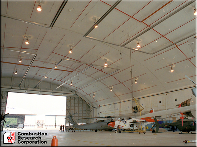 Military Aircraft and helicopter Hanger with Reflect-O-Ray 6.0 EDS Radaint Infrared Heaters
