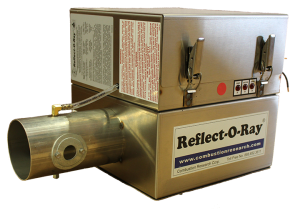 Reflect-O-Ray 3.5 EDS - Gas Fired Radiant Heater - Stainless Steel - 45 view - Reflect-O-Ray Label burner forward