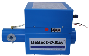 Reflect-O-Ray 3.5 EDS - Gas Fired Radiant Heater - Powder Coated - side view - Reflect-O-Ray Label