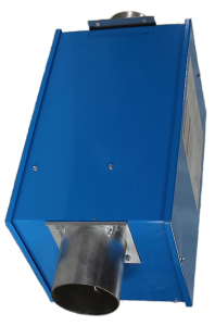 Reflect-O-Ray 4.C EDS - Gas Fired Radiant Heater - Powder Coated - top view – hanging bracket  - top slatnted combustion tube forward - CNG and special fuel facility rated