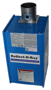 Reflect-O-Ray 4.C EDS - Gas Fired Radiant Heater - Powder Coated - top view – hanging bracket - combustion tube up - CNG and special fuel facility rated